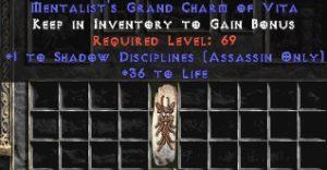 Assassin Shadow Disciplines w/ 36-39 Life GC