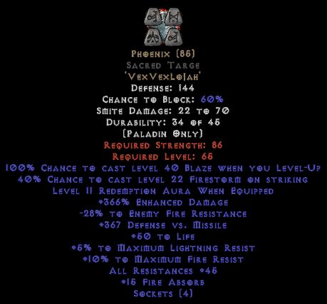 Phoenix Sacred Targe 45 All Res - 350-379% ED