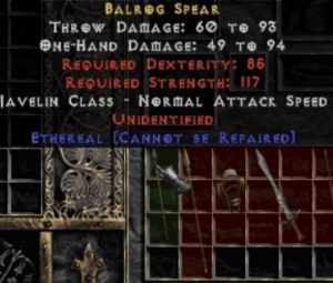 10x Unid Rare Balrog Spear Ethereal