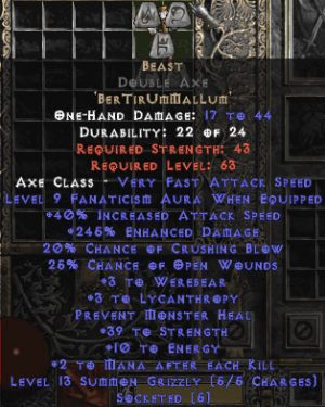 Beast Double Axe - 285% ED & 25-39 Str