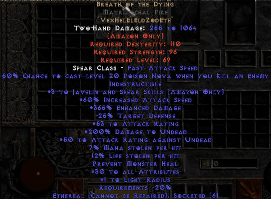 Breath of the Dying Matriarchal Pike - 3 J&S - Ethereal - 350-384% ED