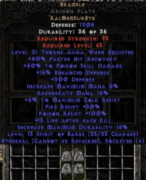 Bramble Archon Plate - Ethereal - +50% PSD & 21 Thorns - Perfect