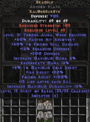 Bramble Archon Plate - +50% PSD & 21 Thorns - Perfect - Base 15/15