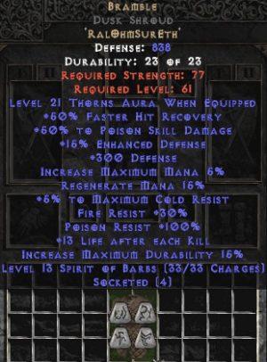 Bramble Dusk Shroud - +50% PSD & 21 Thorns - Perfect - Base 15% ED