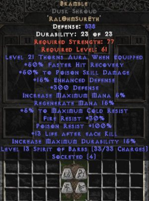 Bramble Dusk Shroud - +50% PSD & 21 Thorns - Perfect