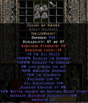 Chains of Honor Great Hauberk - Base 15% ED