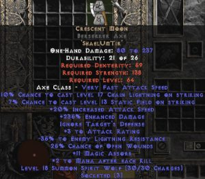 Crescent Moon Berserker Axe - 235% ED - Perfect - 15% ED Base