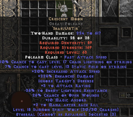 Crescent Moon Great Poleaxe - Ethereal - 235% ED - Perfect - 15% ED Base