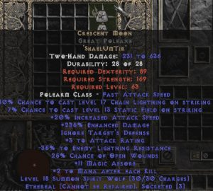 Crescent Moon Great Poleaxe - Ethereal - 235% ED - Perfect - 15/3 Base
