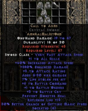 Call to Arms Crystal Sword - +1-3 BO