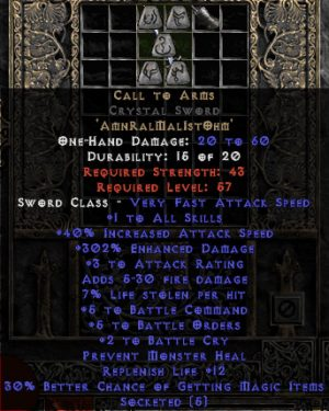 Call to Arms Crystal Sword - +4-5 BO