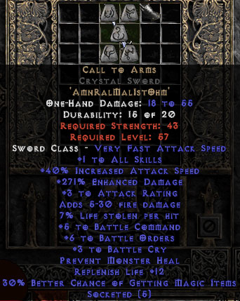 Call to Arms Crystal Sword - +6 BO