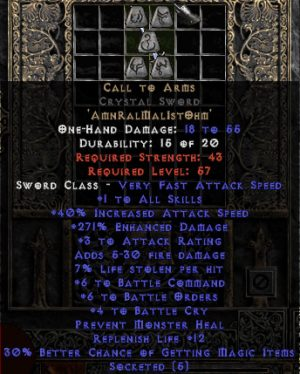 Call to Arms Crystal Sword - +6 BO/+6 BC/+4 BCry