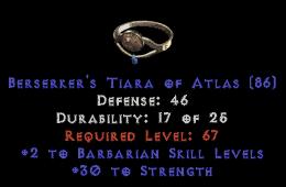 -+2 Barbarian Skills/30 Str Diadem/Tiara/Circlet - 0 Socket