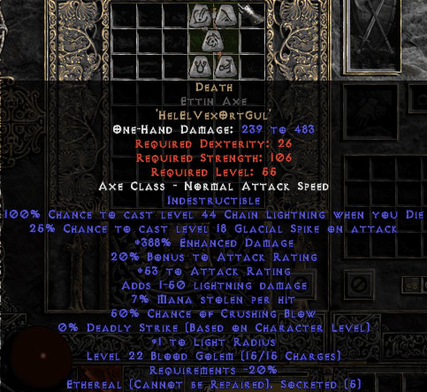Death Ettin Axe - Ethereal - 380-399% ED
