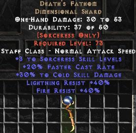 Death's Fathom - 30% CD & 40% Lightning Res