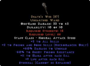 Death's Web - Ethereal - 2 P&B Skills & -50% EPR
