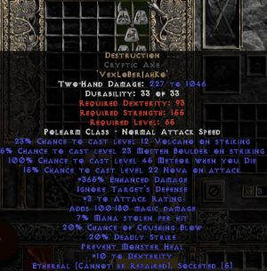 Destruction Cryptic Axe - Ethereal - 15% ED & 3 AR - Perfect