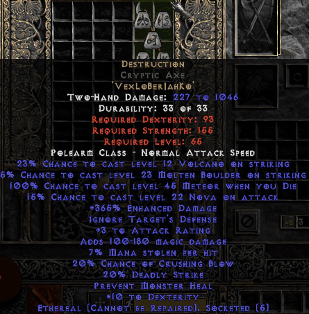 Destruction Cryptic Axe - Ethereal - 15% ED & 3 AR - Perfect