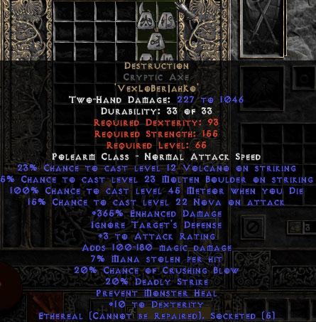 Destruction Cryptic Axe - Ethereal - 0-14% ED
