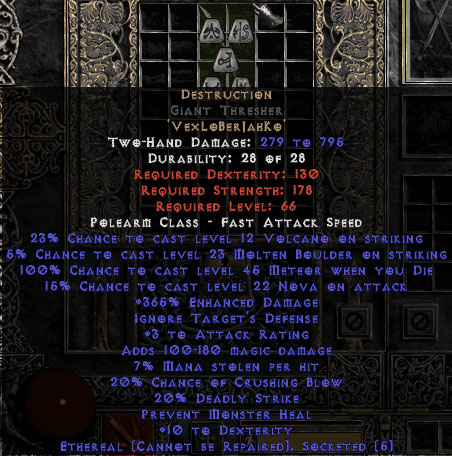 Destruction Giant Thresher - Ethereal - 15% ED & 3 AR - Perfect