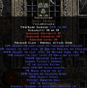Destruction Great Poleaxe - Ethereal - 0-14% ED