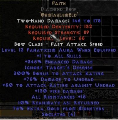 Faith Diamond Bow - 1 Skills & 12-14 Fanat