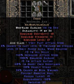 Doom Berserker Axe - 385% ED & 60% ECR - Perfect