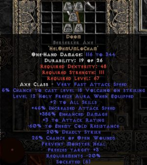 Doom Berserker Axe - 385% ED & 60% ECR & 3 AR - Perfect,