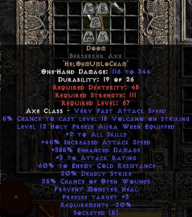 Doom Berserker Axe - 60% ECR