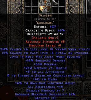 Dragon Crown Shield - 45 Res - 5 All Stats - Perfect - Base 15% ED