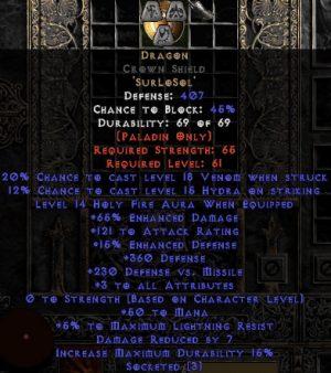 Dragon Crown Shield - 65% ED/121 AR - 3-4 All Stats