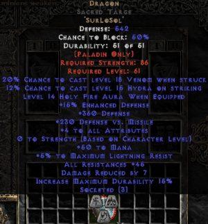 Dragon Sacred Targe - 45 Res - 3-4 All Stats - Base 15/15