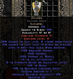 Dragon Dragon Shield - 5 All Stats - Perfect - Base 15% ED