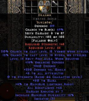 Dragon Vortex Shield - 45 Res - 5 All Stats - Perfect