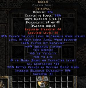 Dream Crown Shield - 45 Res - 50-59 Res