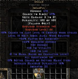 Dream Vortex Shield - 45 Res - 50-59 Res - Base 15% ED
