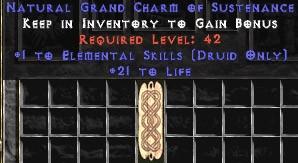 Druid Elemental Skills w/ 21-29 Life GC