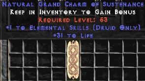 Druid Elemental Skills w/ 31-34 Life GC