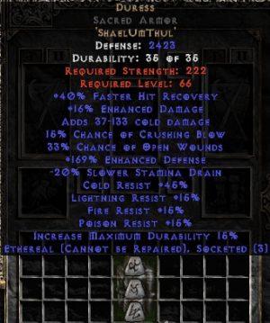 Duress Sacred Armor - Ethereal -- 150-184% EDef