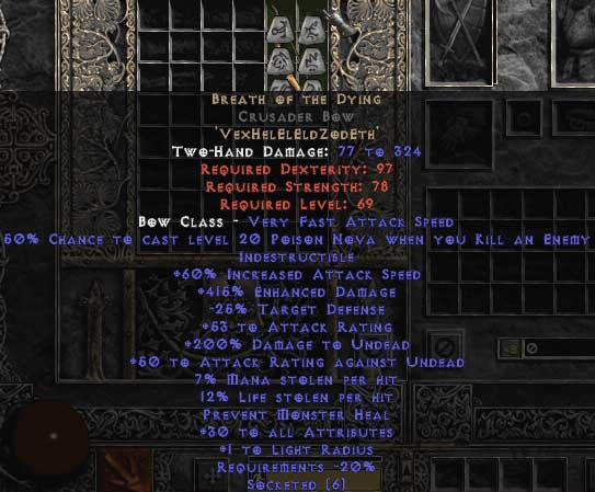 Breath of the Dying Crusader Bow - 415% ED & 3 AR & 15% LL - Perfect