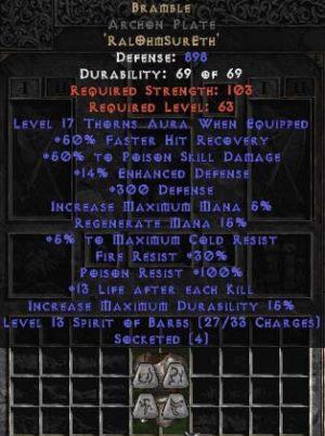 Bramble Archon Plate - +50% PSD & 15-21 Thorns