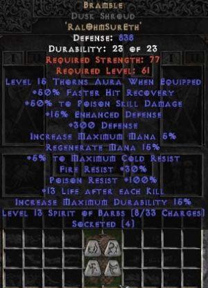 Bramble Dusk Shroud - +50% PSD & 15-21 Thorns - Base 15/15
