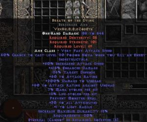 Breath of the Dying Berserker Axe - Ethereal - 415% ED & 12-14% LL