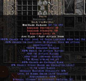 Death Berserker Axe - Ethereal - 380-399% ED