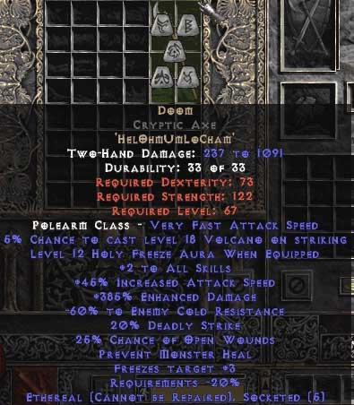 Doom Cryptic Axe - Ethereal - 385% ED & 40-59% ECR