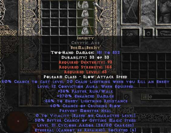 Infinity Cryptic Axe - Ethereal - 255-294% ED & -45-54% ELR