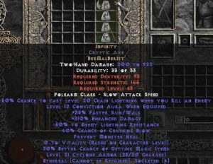 Infinity Cryptic Axe - Ethereal - 295-324% ED & -45-54% ELR