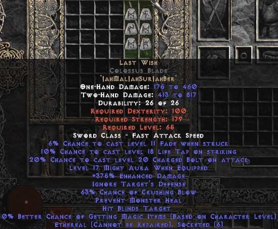 Last Wish Colossus Blade - Ethereal - 360-374% ED & 65-69% CB