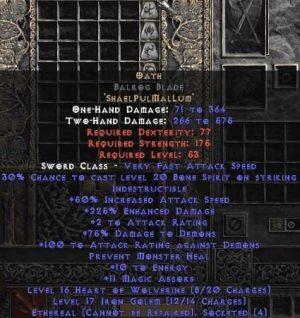 Oath Balrog Blade - Ethereal - 210-299% ED